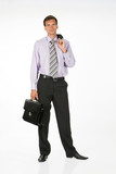 Young man in different office situations poster