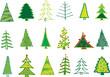 18 Tannenbäume im Vektorformat