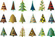 18 Tannenbäume mit Metallschimmer im Vektorformat