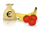Budget fruits et légumes (reflet) poster