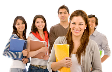 woman and a group of university students smiling - isolated