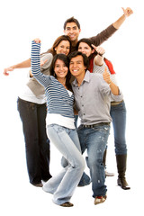 group of happy students full of success isolated