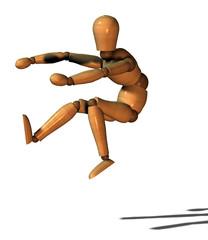 uomo burattino che salta