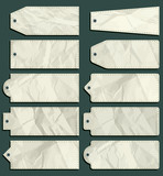 Fototapety ten crumple  labels over green background