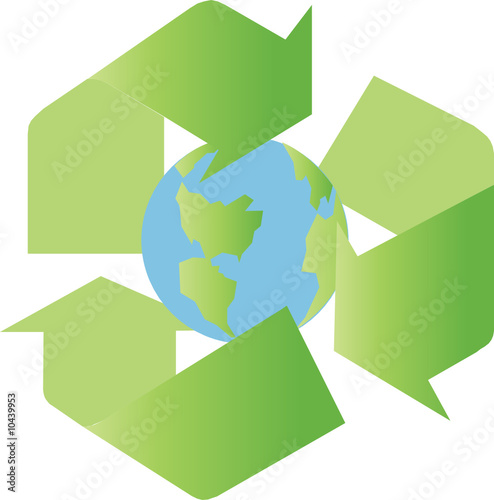 recycling sign with the earth