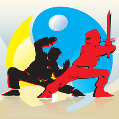 Asian Fighters And Yin-Yang