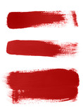Texture of red brush strokes on white background. poster