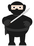 Cartoon Ninja with sword standing alone