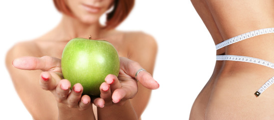 healthy young girl with fresh green apple