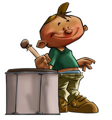 a drummer boy with a large smile