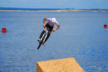 Diving at the bike