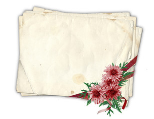 Old paper with ribbons and chrysanthemum