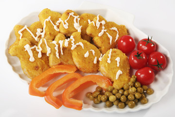 Fish cutlets with a paprika, Cherry Tomato and Peas