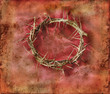 Crown of Thorns on a red grunge background.