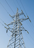 Mast of electricity transmissions poster