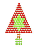 Triangular Christmas tree illustration with christmas balls poster