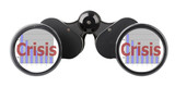 binoculars with economy concepts in lenses poster