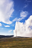 The  well-known geyser - Old Faithful. The beginning of eruption poster