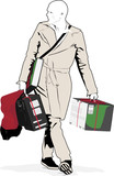 illustration of gentleman carrying purchased items poster