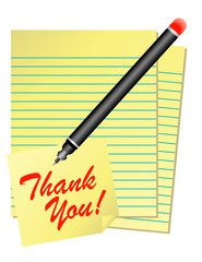 Yellow Thank You Note with Pen