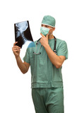 surgeon in green uniform studio isolated over white poster