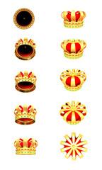 3d Illustration of golden crowns on white background