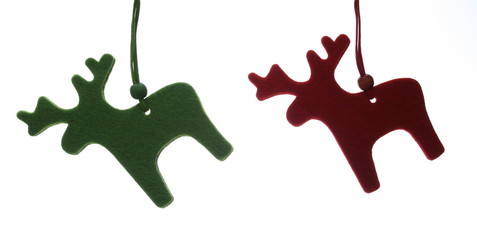 red and green reindeers