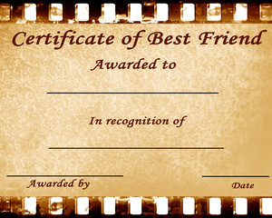 certificate of best friend with some stains on it