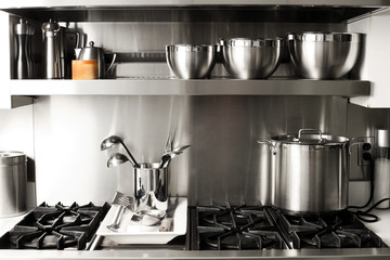quite new kitchen stuff in silver black colors