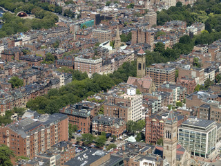 Aerial view of old Back Bay neighborhood in Boston.