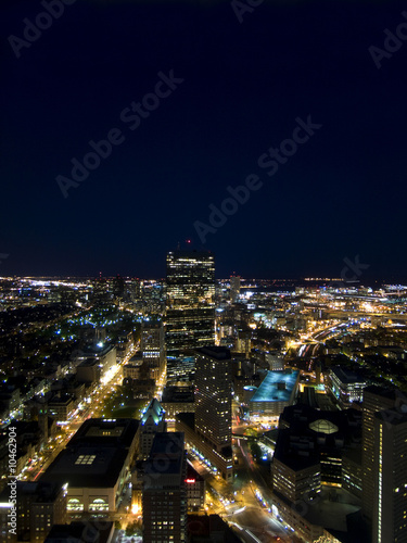 Hancock Building and Boston skyline at night.