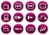 Gadget icons set. White - purple palette. Vector illustration. poster