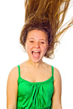Woman screaming with her hair blowing. White background.