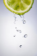 fresh water drops on lemon