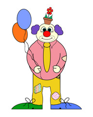 Clown Cartoon (no:2)  With Balloons - Isolated on white