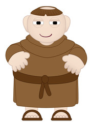 Tubby Monk in Brown Robes wearing sandles