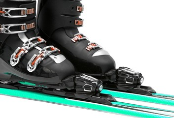 Ski equipment isolated on white