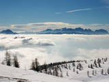 High mountain landscape above the clouds poster