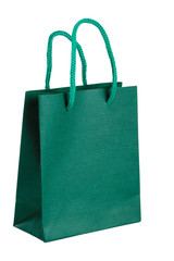 Green paper-bag. Isolated on white background