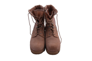 Combat boots facing forward