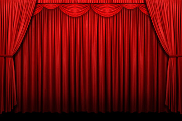 Red stage curtains with arch entrance