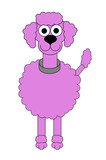 Pink Poodle Cartoon - Isolated on white