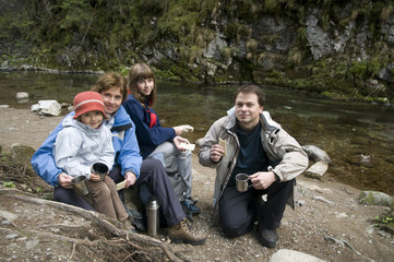 Family on mountain trip