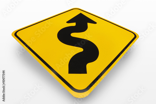 Curves Ahead Road Sign on a white background