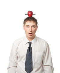 businessman with apple on the head