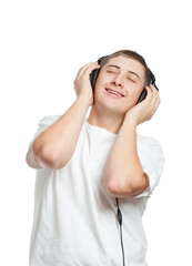 young man listening the music