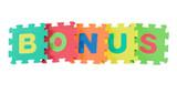 Alphabet blocks forming the word BONUS isolated on white poster