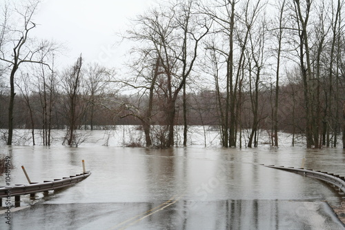 Flood waters over road - 10480949