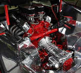 Fototapety High performance car engine in compartment