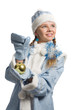 Snow maiden with christmas-tree decoration looks upward